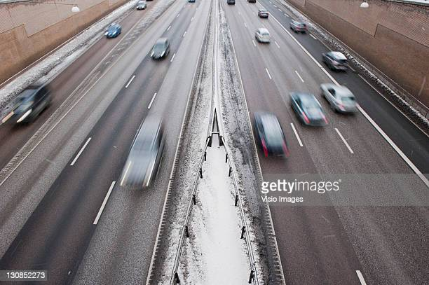 Traffic on a highway, Sweden, Europe