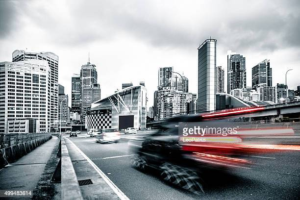 Traffic on an elevated road in Sydney CBD