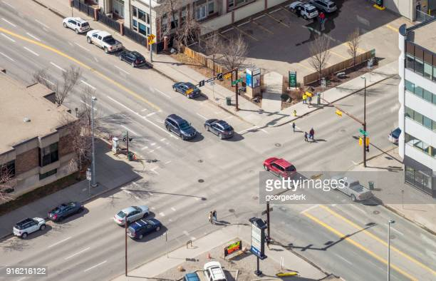 traffic on an intersection in calgary - isometric projection stock photos and pictures