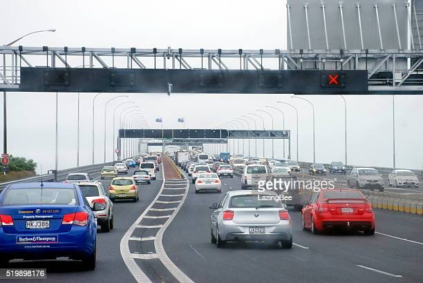 Traffic on Auckland Harbour Bridge, New Zealand