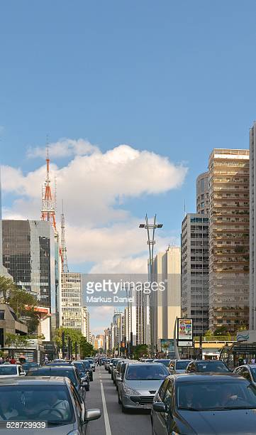 Traffic on Avenida Paulista in Sao Paulo, Brazil