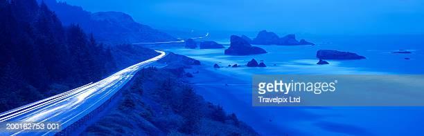 Traffic on coastal road, dusk (long exposure)