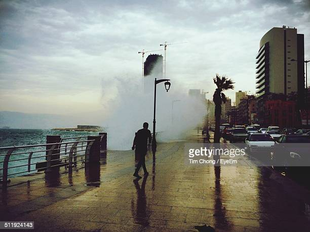 traffic on coastal road in city - beirut stock pictures, royalty-free photos & images