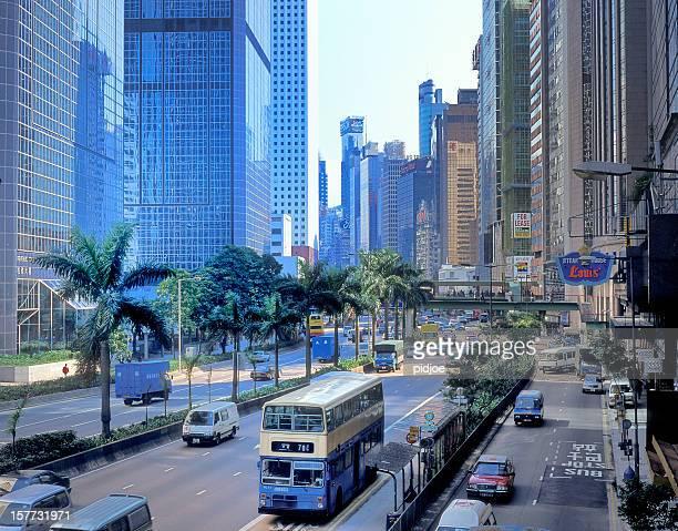 traffic on Gloucester Road in Wanchai Hong Kong