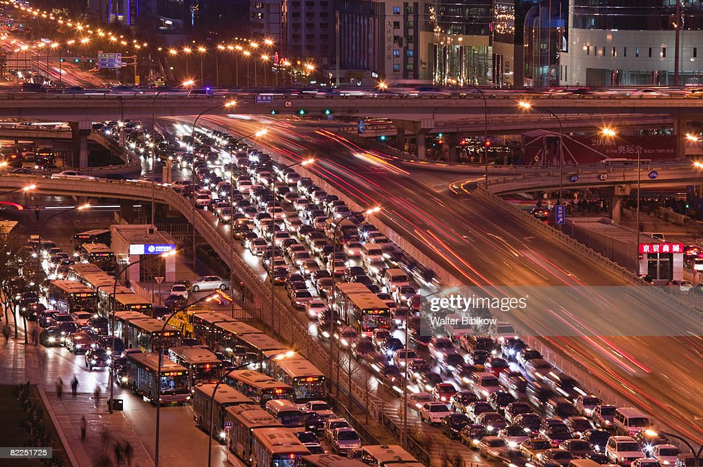 Traffic on Jianguomenwai Dajie Looking East : Stock Photo