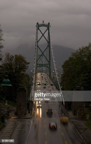 Traffic on Lions Gate Bridge the connector of downtown and North and West Vancouver is seen in this 2009 Vancouver British Columbia Canada rainy...