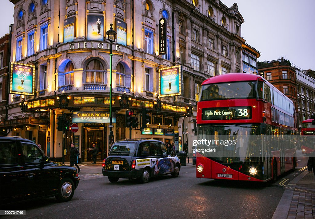 Traffic on London's Shaftesbury Avenue : Stock Photo