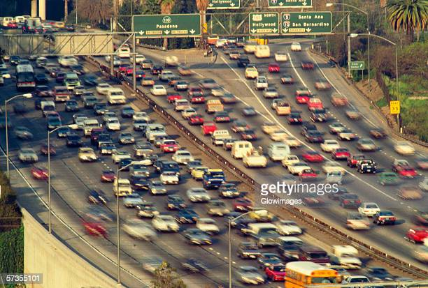 Traffic on Los Angeles freeways with freeway signs