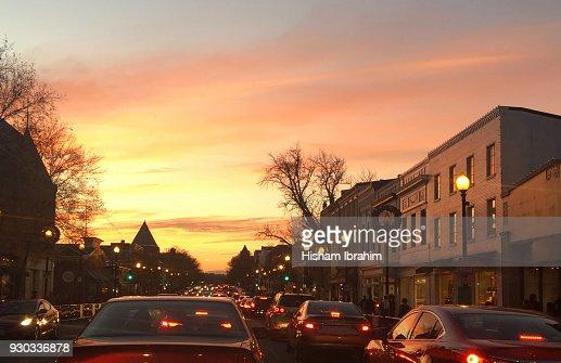 Traffic on M Street in Georgetown, at Sunset - Washington DC