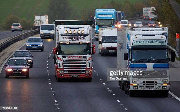 Traffic on M11 Motorway near Harlow Essex United Kingdom