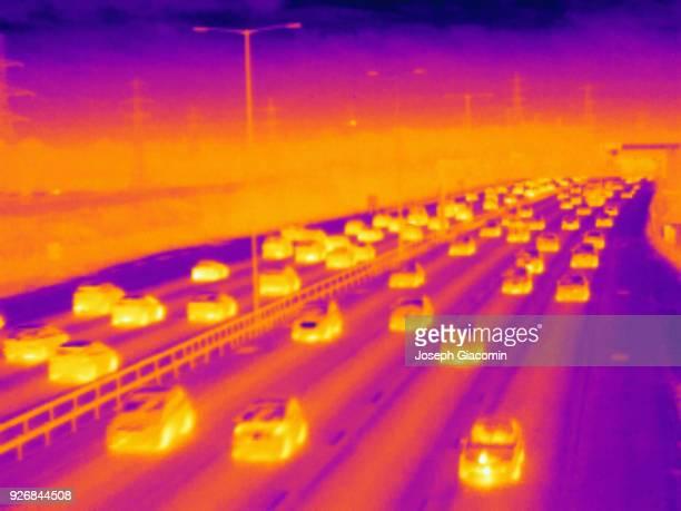 Traffic on M25 motorway, UK
