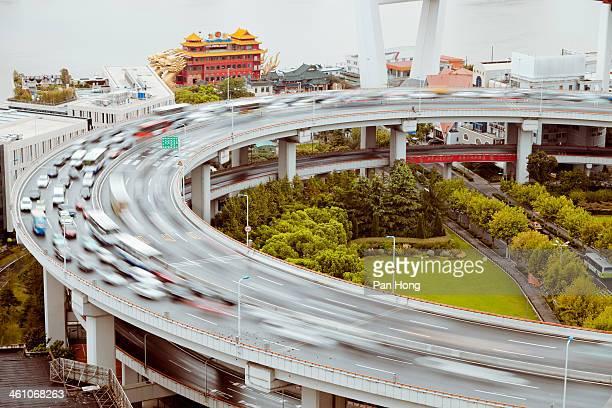 Traffic on Nanpu Spira of shanghai