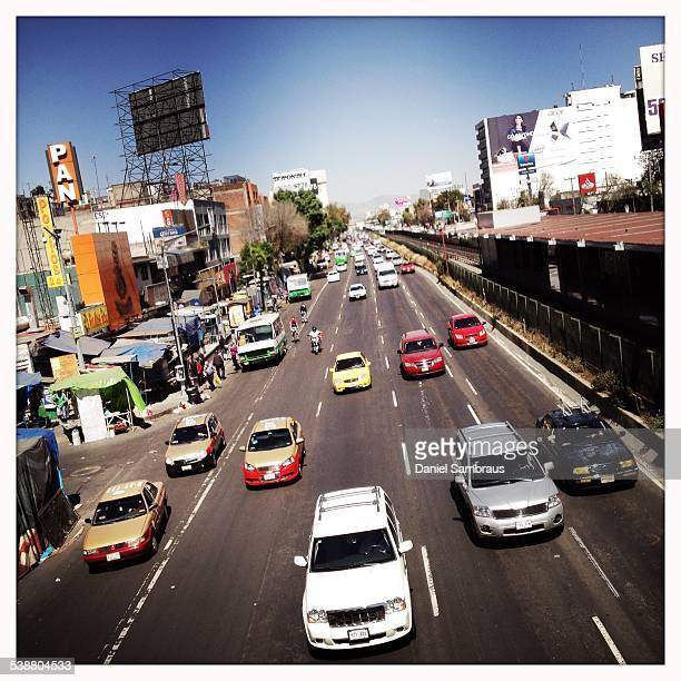 Traffic on one of Mexico City's biggest road the Calzada de Tlalpan Mexico City Mexico
