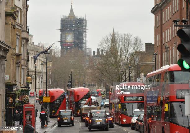 A traffic on Parliament Street in Central London On Saturday 25 January 2020 in London United Kingdom