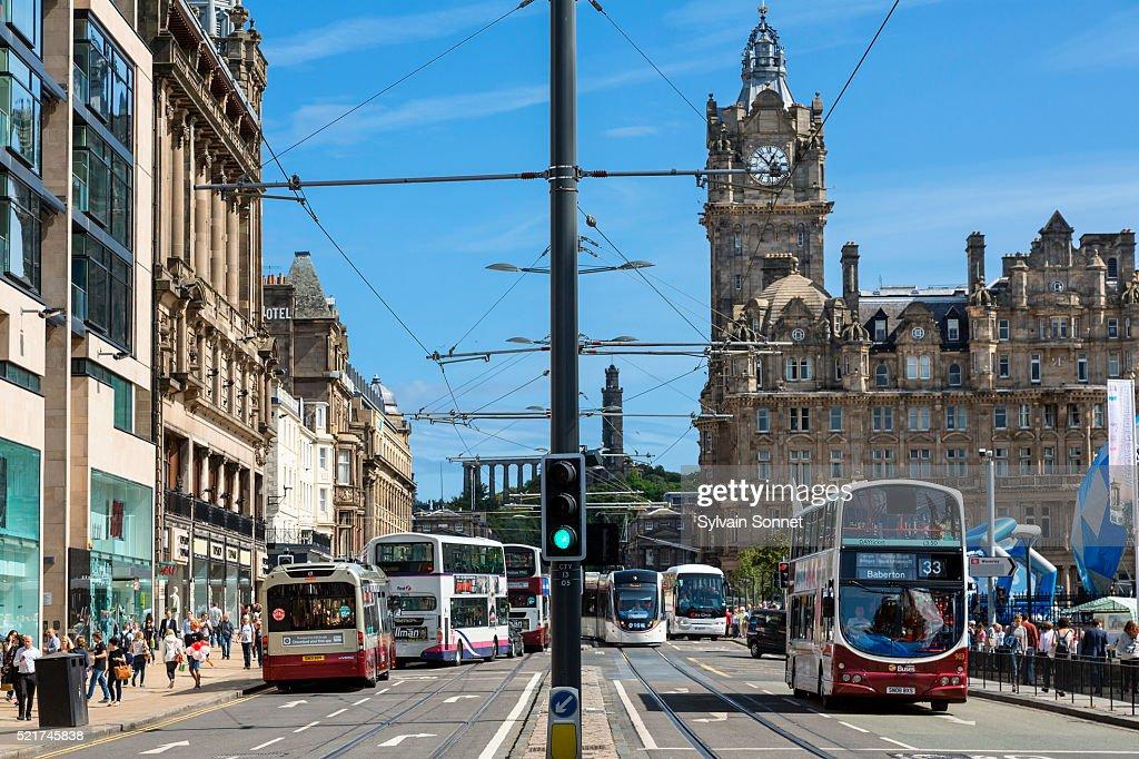 Traffic on Princes Street, Edinburgh Princes Street : Stock Photo
