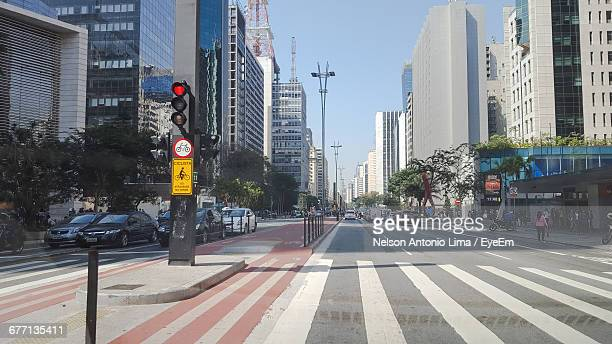 traffic on street in paulista avenue - road signal stock pictures, royalty-free photos & images