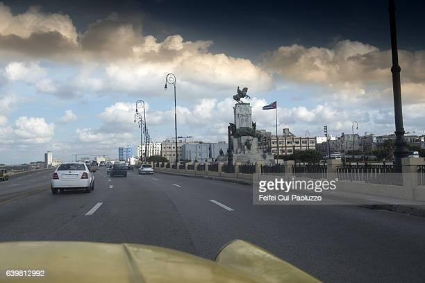 Traffic on street of Malecon of Havana in Cuba