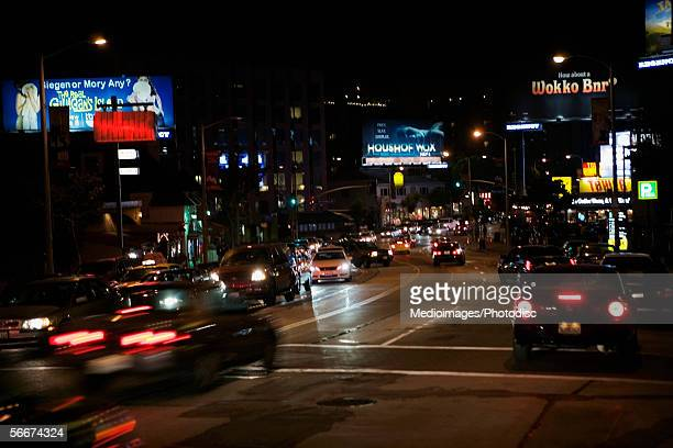 Traffic on Sunset Boulevard at night, Los Angeles, California, USA
