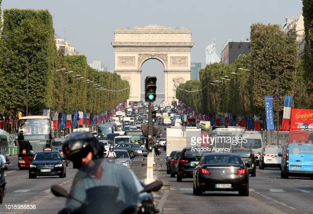 Traffic on the Avenue des Champs Elysees in Paris France on August 13 2018