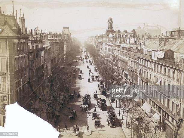 Traffic on the Boulevard des Italiens in Paris, circa 1890.