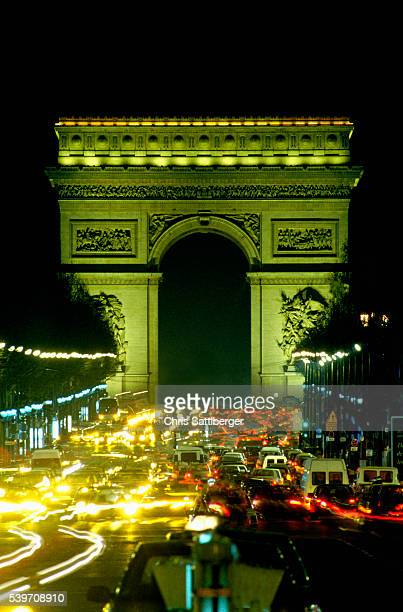 Traffic on the Champs-Elysees at Night