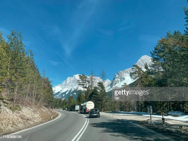 Traffic on the Fernpass in the Tiroler Alps during a beautiful winter day