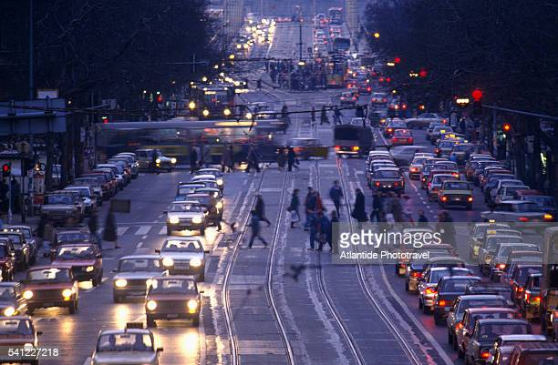 traffic on the grand boulevard - hungary stock pictures, royalty-free photos & images
