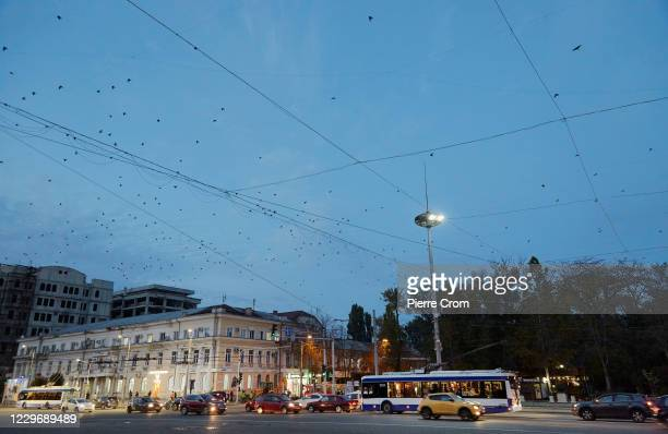 Traffic on The Great National Assembly Square on November 2, 2020 in Chisinau, Moldova.