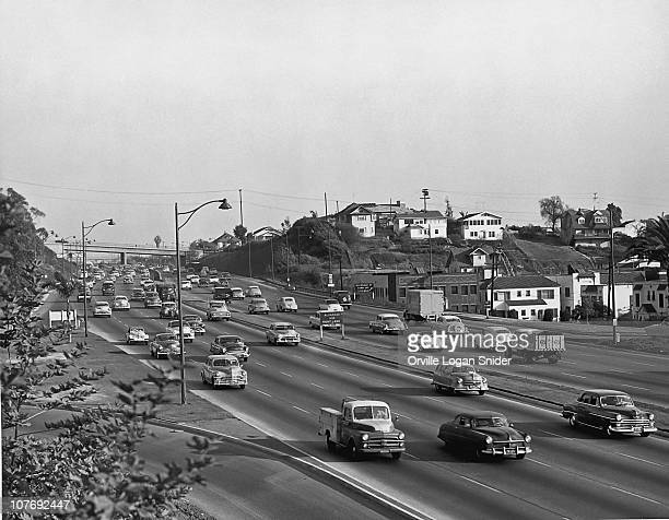 Traffic on the Hollywood Freeway Los Angeles California USA circa 1950