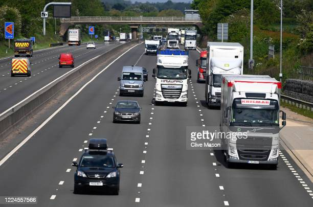 Traffic on the M1 motorway in Northamptonshire this morning as some lockdown restrictions are lifted on May 13, 2020 in Northampton, England. The...