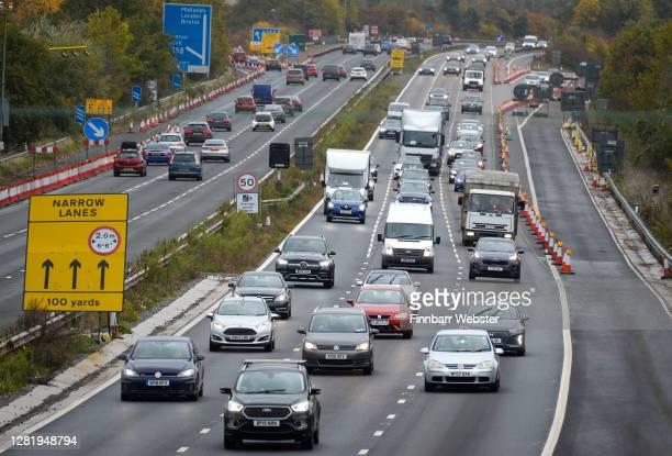 Traffic on the M5 heading towards Devon on October 24, 2020 in Taunton, United Kingdom.