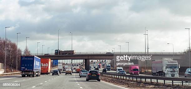 Traffic on the M6 Motorway in England