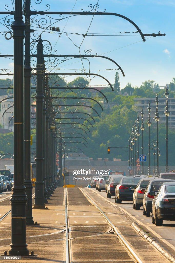 Traffic on the Margaret Bridge in Budapest, Hungary : Stock Photo