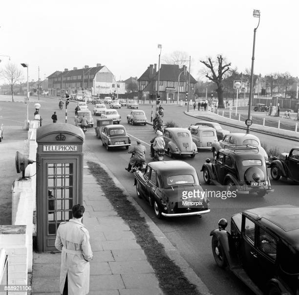 Traffic on the road heading to the south coast The A20 Dover Folkestone Road at New Eltham London February 1960