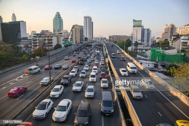 Traffic on the roads of Bangkok the capital of Thailand There are over the ground highways to relief the traffic jam