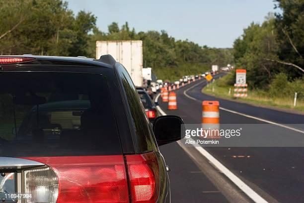 traffic on the roadwork distance