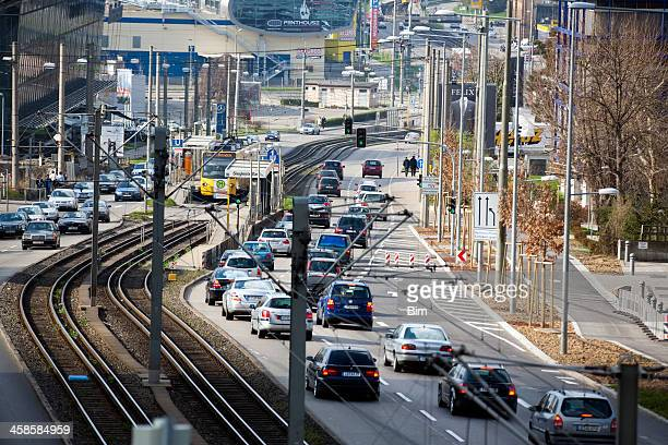 traffic on the street in stuttgart, germany, elevated view - stuttgart stock pictures, royalty-free photos & images