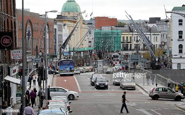 Traffic on the streets in Cork city centre southern Ireland on October 2 2014 Perched on top of a hill overlooking the Irish city of Cork surrounded...