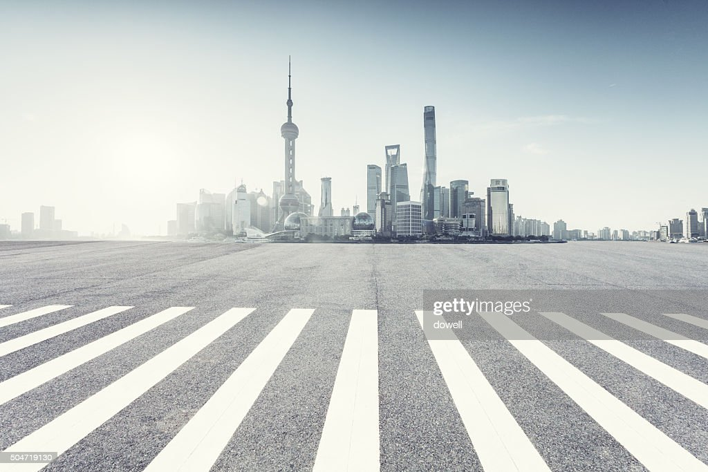 traffic on urban road with sunbeam in Shanghai : Stock Photo