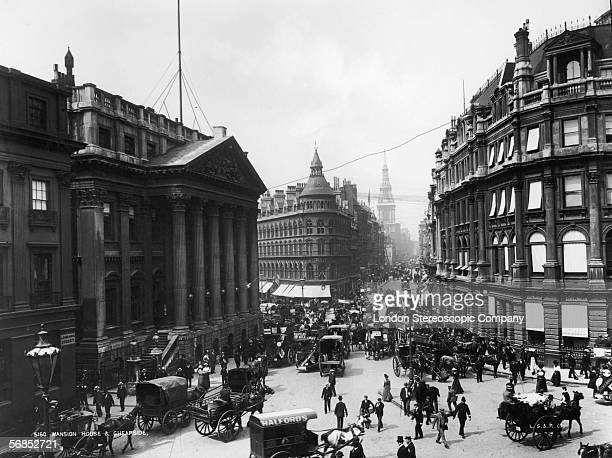Traffic outside the Mansion House and down Cheapside in the City of London circa 1890