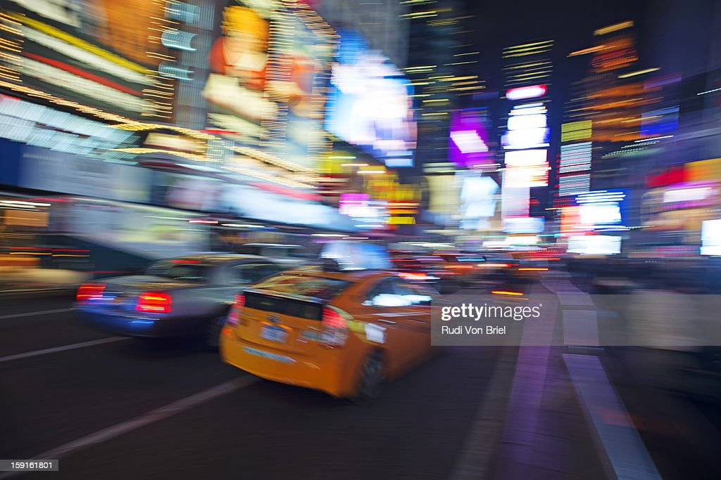 Traffic pan-blur in Times Square, NYC. : Stock Photo
