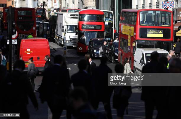 Traffic passes along Fleet Street in London UK on Monday April 10 2017 London has missed by seven years legal deadlines to improve air quality and...