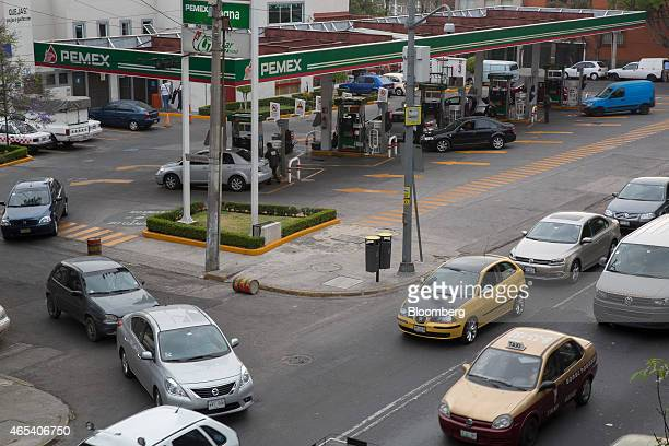 Traffic passes by a Petroleos Mexicanos gas station in Mexico City Mexico on Friday March 6 2015 Oil contracts worth more than $20 million will be...