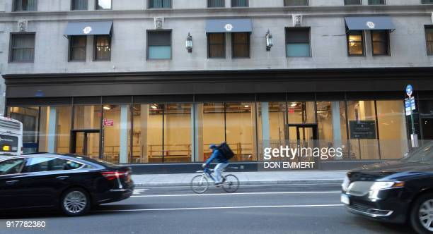 Traffic passes by empty retail space on the ground floor of the Intercontinental Hotel on Lexington Ave on February 8 2018 in New York The New York...