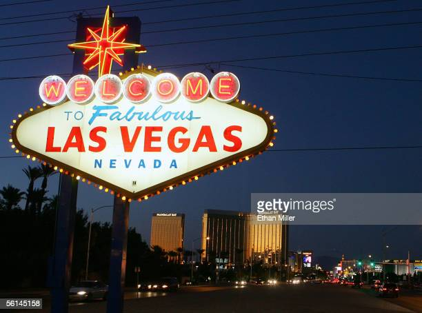 Traffic passes by the famous sign welcoming motorists on the south end of the Las Vegas Strip November 11 2005 in Las Vegas Nevada The Mandalay Bay...