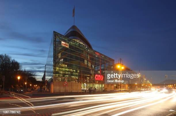 Traffic passes by the headquarters of the Christian Democratic Union political party on October 31, 2018 in Berlin, Germany. CDU Chairwoman and...