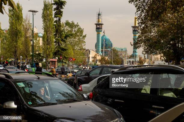 Traffic passes in front of the Imamzadeh Saleh mosque in Tehran Iran on Saturday Nov 3 2018 Irans Supreme Leader Ayatollah Khamenei said US...