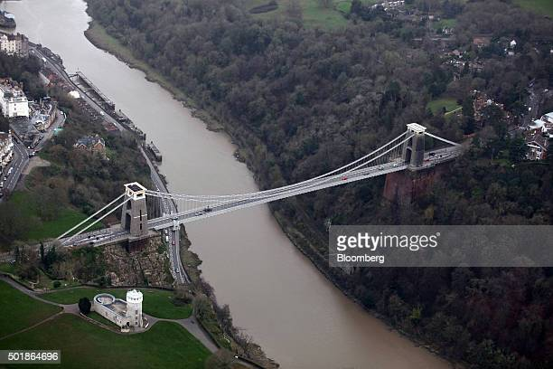 Traffic passes over the Clifton Suspension Bridge as it stands above the River Avon in this aerial photograph taken over Bristol UK on Thursday Dec...