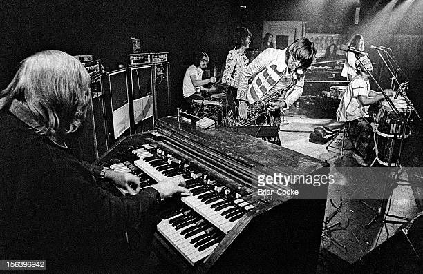 Traffic perform on stage with the Muscle Shoals rhythm section at Birmingham Town Hall on Wednesday March 20 1973 LR Barry Beckett Roger Hawkins...