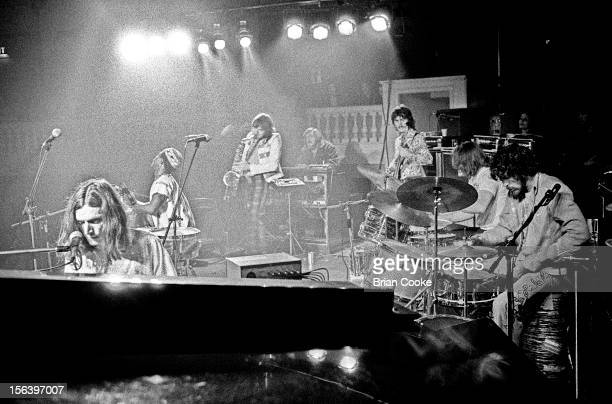 Traffic perform on stage with the Muscle Shoals rhythm section at Birmingham Town Hall on Wednesday March 20 1973 LR Steve Winwood Reebop Kwaku Baah...